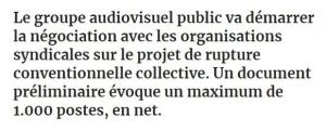 FRANCE TÉLÉVISIONS: Plan de choque para justificar un millar de despidos